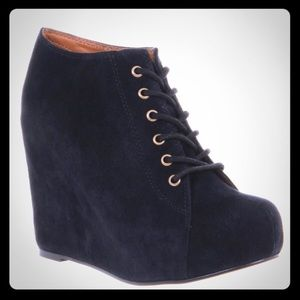 Jeffrey Campbell 99-Tie 🖤 suede wedge ankle boots